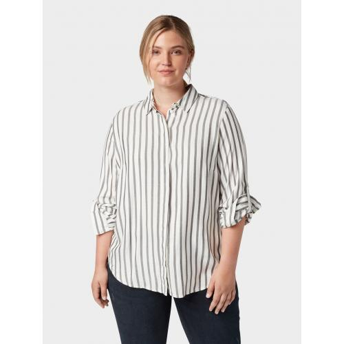 TOM TAILOR MY TRUE ME Gestreepte blouse met tape details, offwhite grey stripe, 48