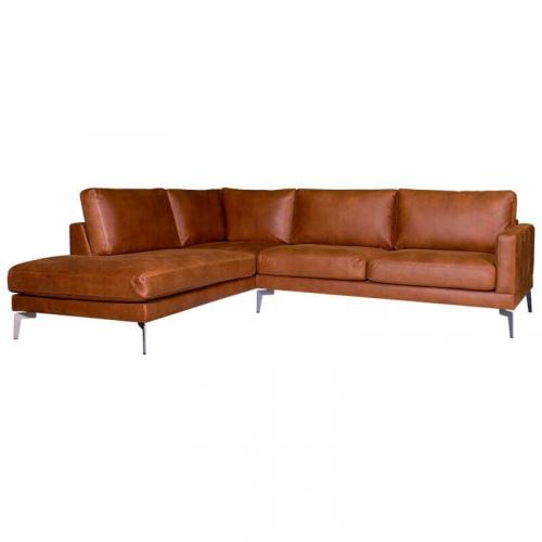 Hoekbank Lelie chaise longue links | leer Kentucky cognac 09 | 2,25 x 2,66 mtr breed