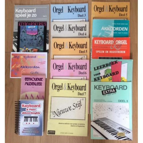 Keyboard en orgel les en songboeken + keyboardspullen stands