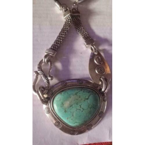 Native styl turquoise gemstone collier
