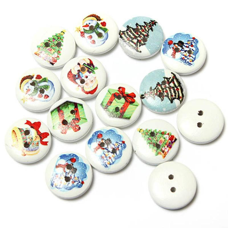 80pcs Xmas Wooden Santa Claus Snowman Pattern Buttons Christams Decor Schitterend